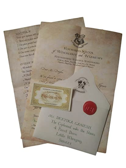 mc sid razz hogwarts acceptance letter officially licenced by warner bros usa brown