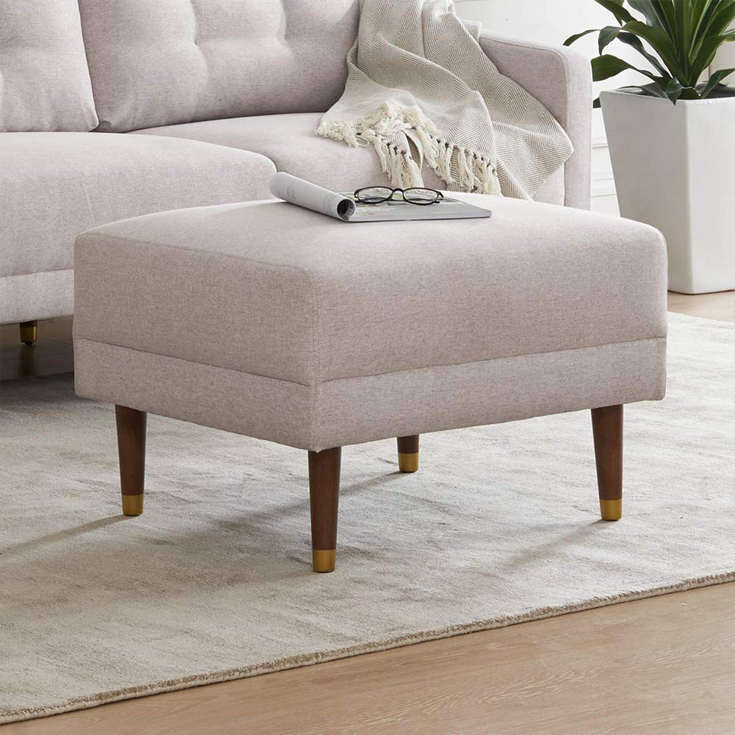 Savannah Mid-Century Modern Fabric Square Ottoman with Tapered Gold Caps Legs from Mopio, 27'' W, (Light Gray) by AsianiCandy