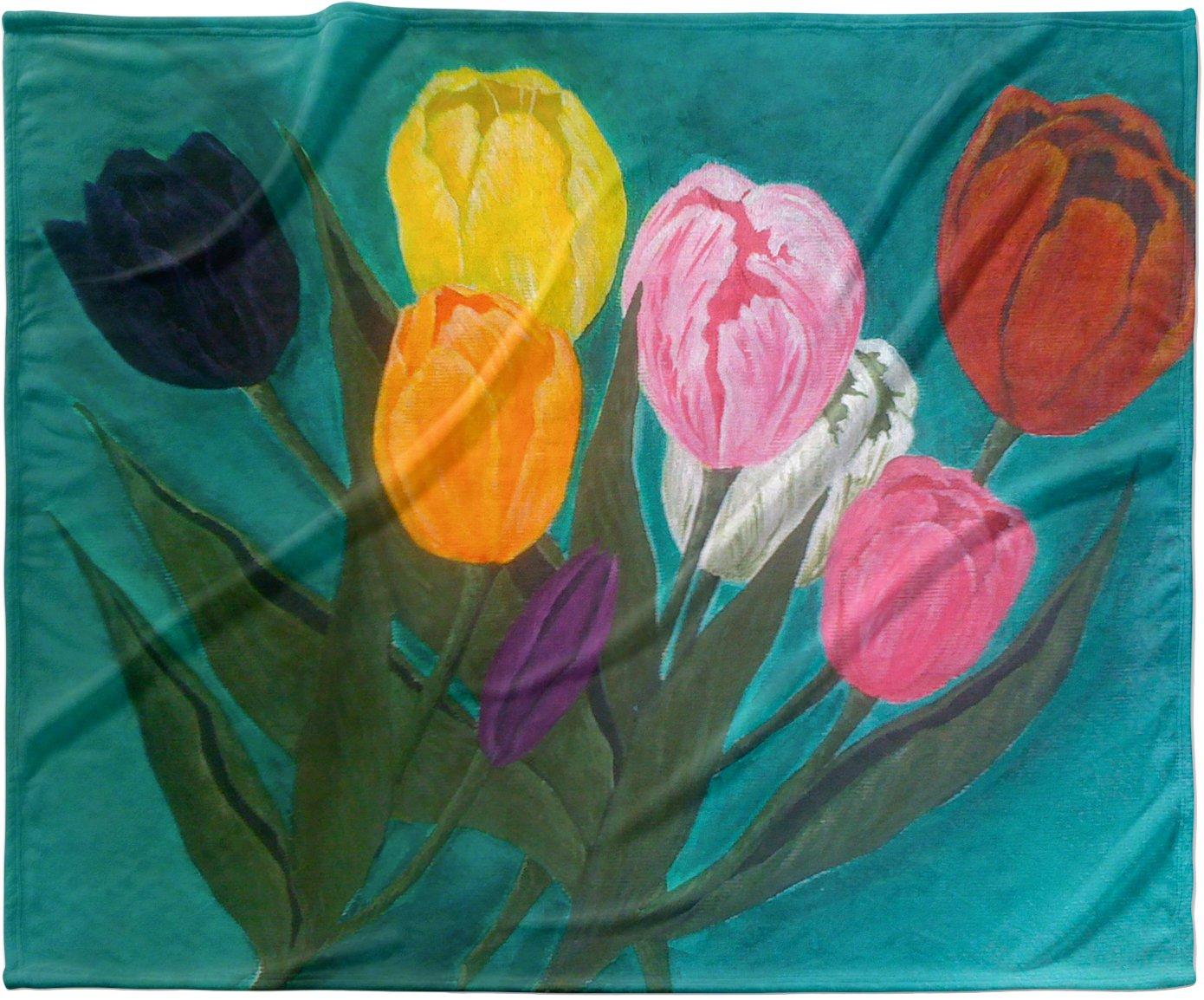 KESS InHouse Christen Treat 'Tulips' Rainbow Flower Fleece Baby Blanket, 40' x 30'