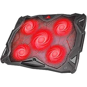 Base Refrigeracion Portatil Ventilador Portátil Cooler Fan Refrigeracion Gaming con 5 Ventiladores Silenciosos y 2 Puertos