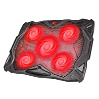 "HAVIT Laptop Cooling Fan, Portable Cooling Pad with 5 Quiet Fans and 2 USB Ports, for Up to 17"" Laptops, Black (F2068)"