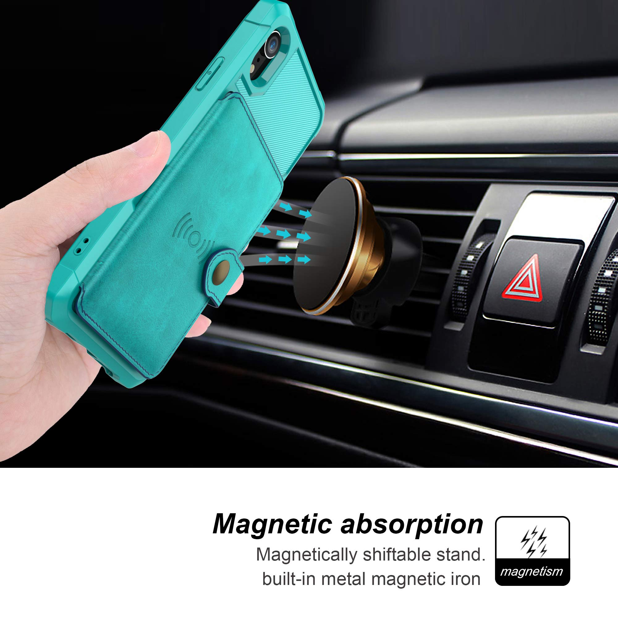 Bogumil iPhone XR Wallet Case, iPhone XR Wallet Flip Leather Kickstand Fit Magnetic Wireless Car Charger Mount Slim Durable Shockproof Protective Case Cover with Card Holder (Turquoise)
