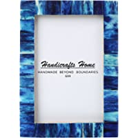 New Real Handmade Black White Bone Photo Picture Vintage Imported Chic Frame Made to Display 4x6 5x7 Pictures (4x6 Blue)