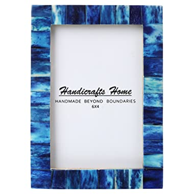 New Real Handmade Black White Bone Photo Picture Vintage Imported Chic Frame Made to Display 4x6 5x7 Pictures (4x6, Blue)