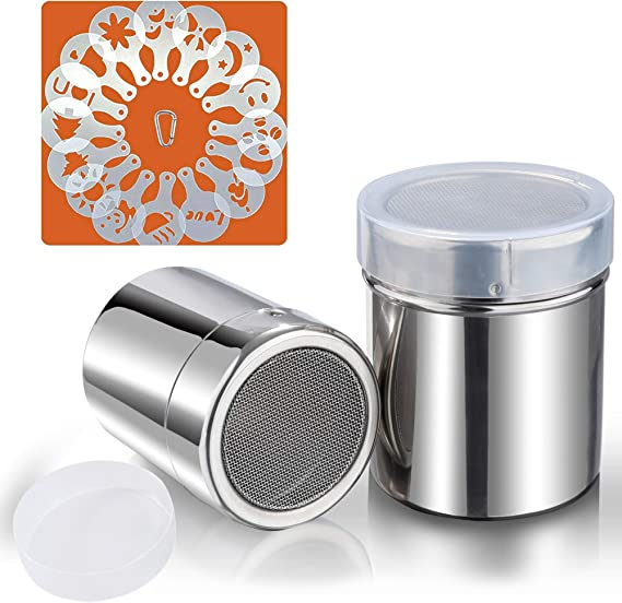 S 2pcs Stainless Steel Powdered Sugar Shaker Duster for Chocolate