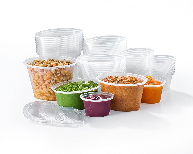Mummy Cooks - 50 Stück, ohne BPA, aus Plastik wiederverwendbare Behälter für Babybrei, tiefkühltauglich Mummy Cooks - 50 Stück tiefkühltauglich MC0112346