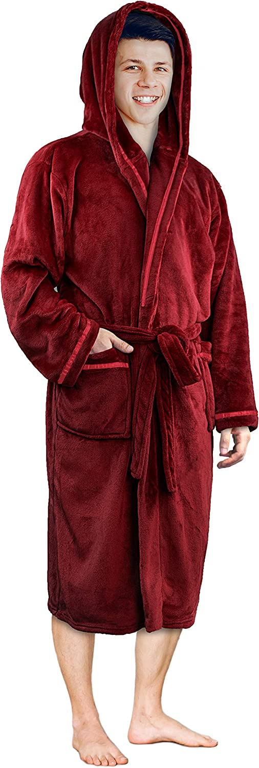 Mens Hooded Fleece Robe with Satin Trim and Shawl Collar | Plush and Warm Mens Bathrobe for Spa