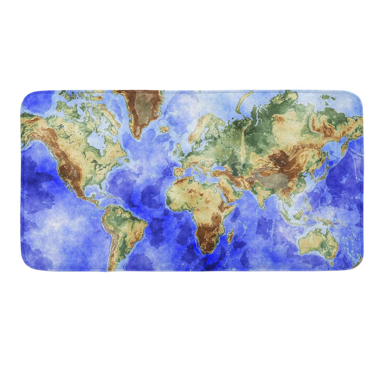 CIGOCI Anti-Slip Memory Foam Bath Mat - 18 x 36 Inch, Extra Absorbent,Soft,Duarable and Quick-Dry Shaggy Mat, 3D PrintWorld Map