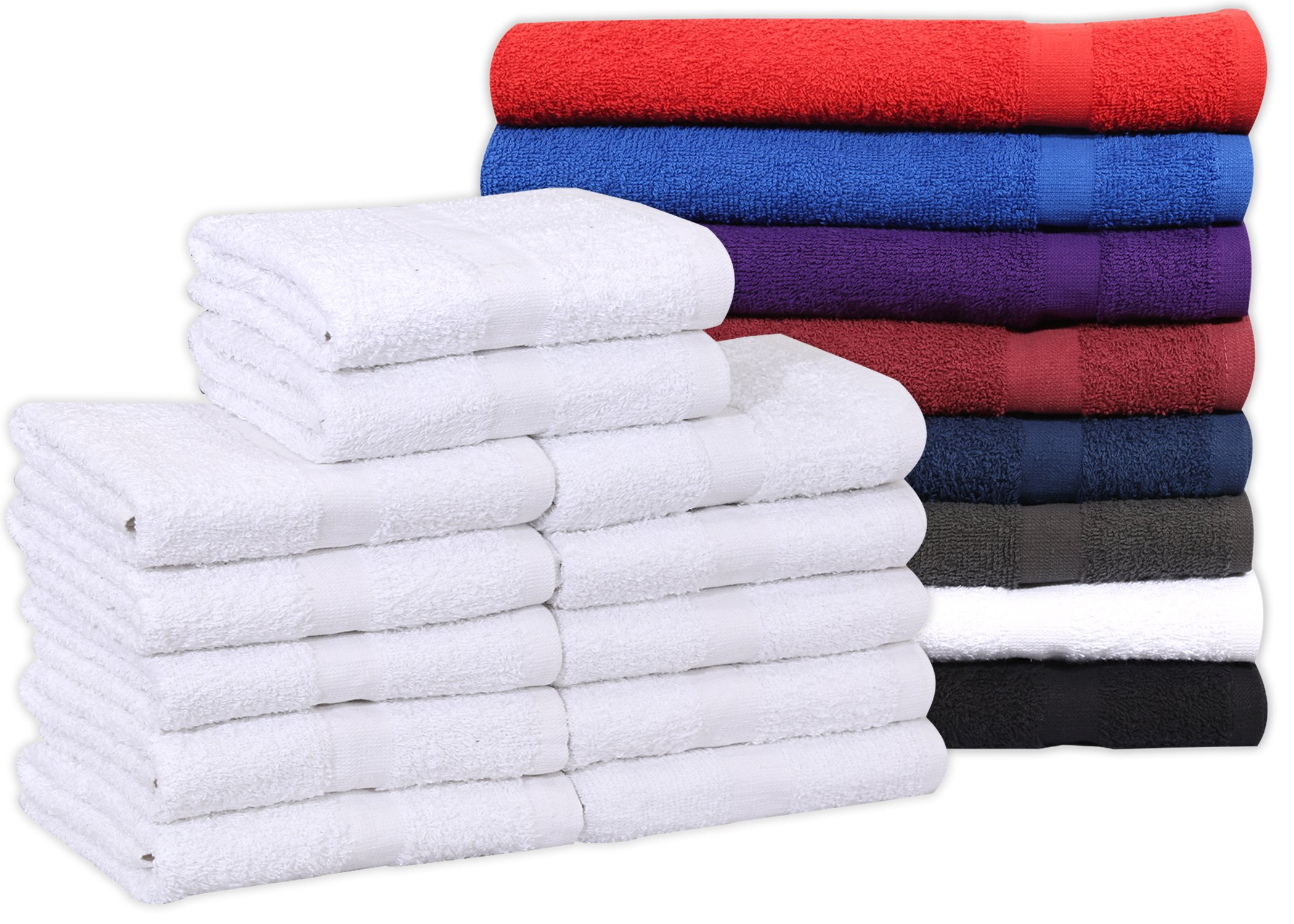 Cotton Salon Towels (12-Pack, White,16x27 inches) - Soft Absorbant Quick Dry Gym-Salon-Spa Hand Towel (White) (100%