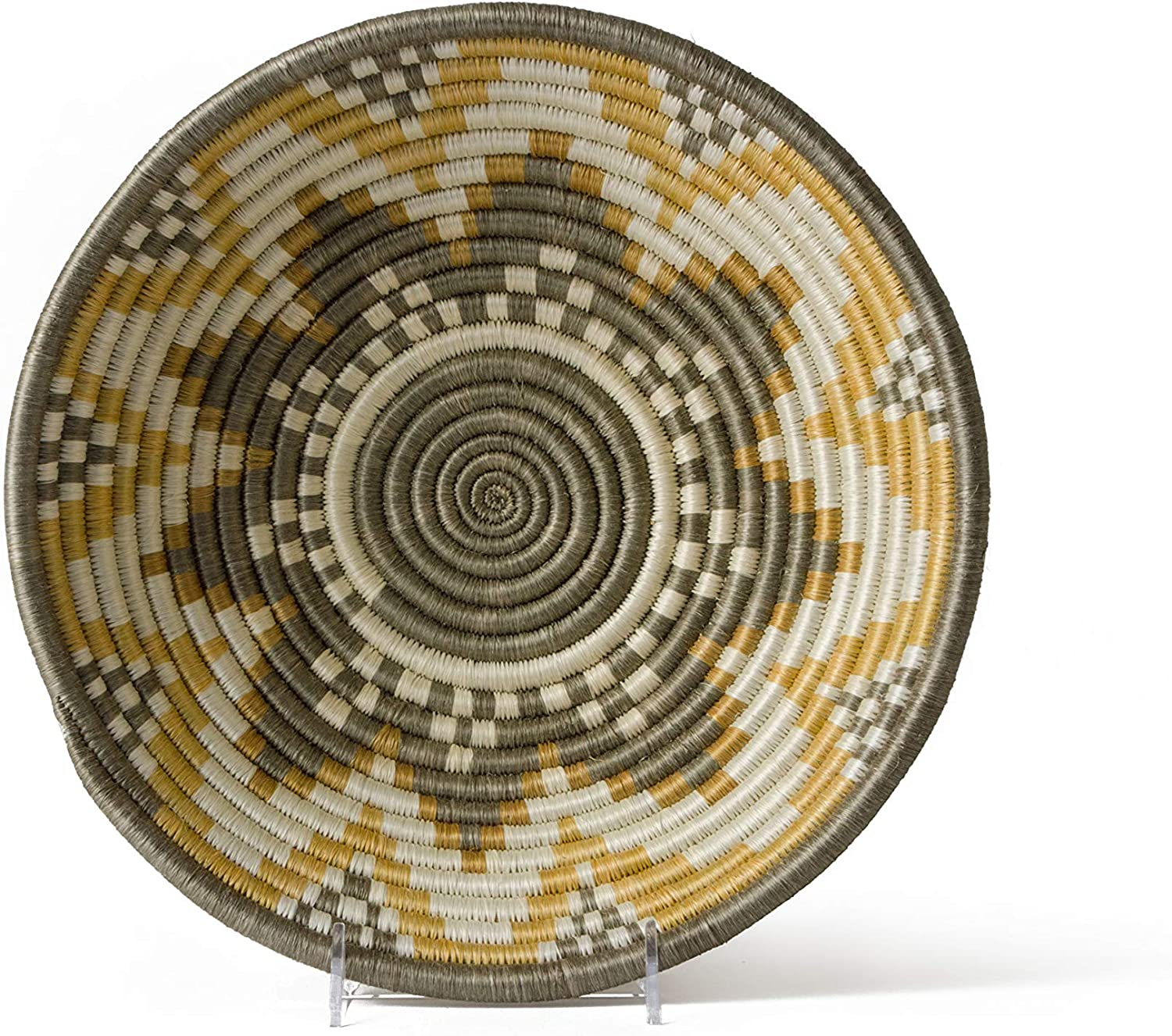 "All Across Africa Expressions Collection - Large Hanging Woven Wall Basket Decor, Decorative Serving or Fruit Basket, Food Safe, Handmade African Bowl - 12"" D x 3.5"" H, Soft Gold and Taupe"