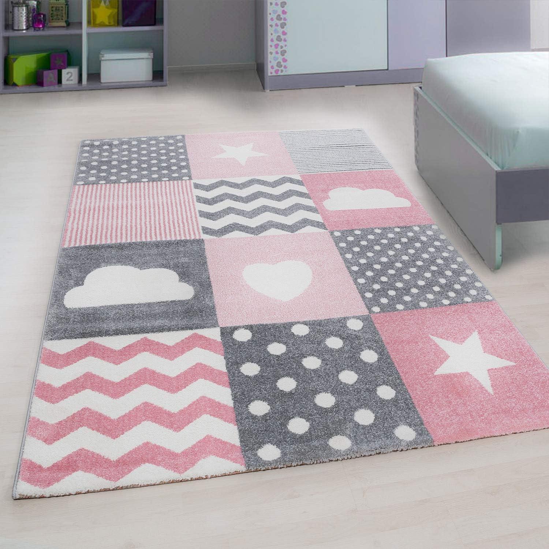Pink 120 X 170 Polypropylen Ayyildiz Teppich-Kinderteppich Kinderzimmer Babyzimmer Wolken Sterne Herz