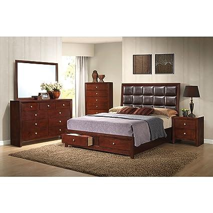 Acme Furniture Ilana Brown Cherry 4 Piece Storage Bedroom Set Cherry Queen