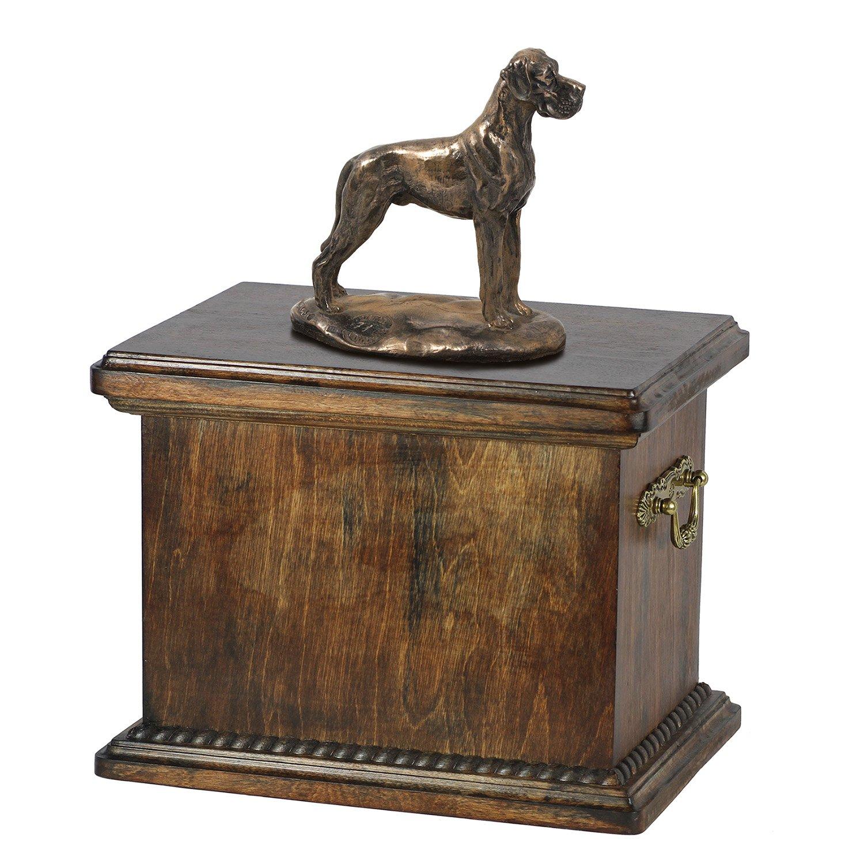 Deutsche Dogge (uncropped), Memorial, Urne für Hunde Asche, mit Hund Statue, ArtDog