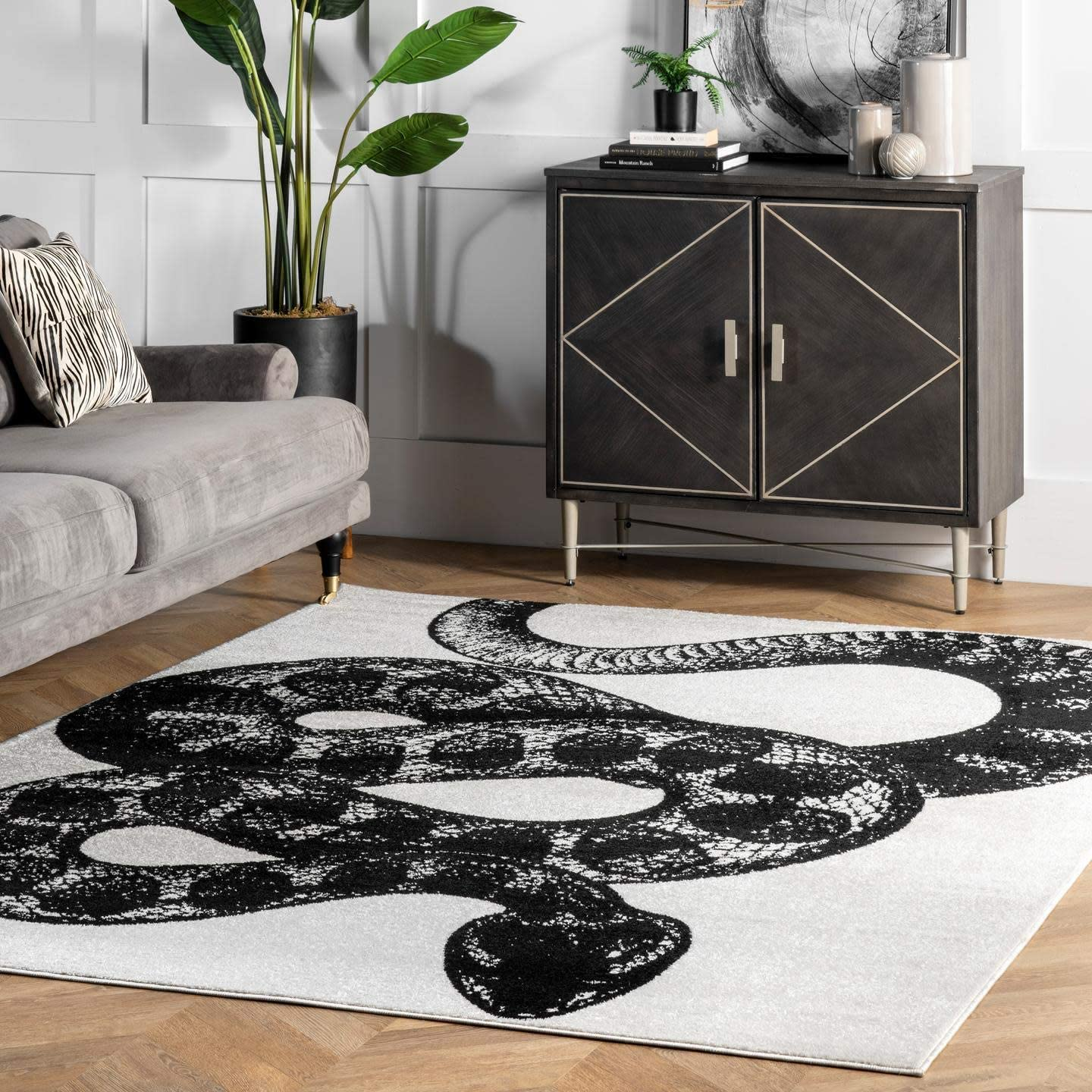 nuLOOM Thomas Paul Serpent Area Rug, 8 10 x 12 , Black White