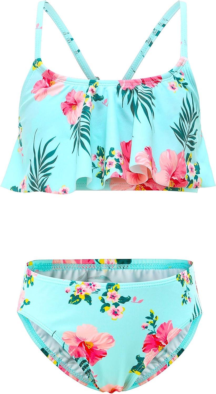 Moon Tree Girls Bikini Swimsuit Ruffle Hawaiian Beach Rainbow 2-14 Years Old