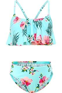 HowJoJo Girls Two Piece Mermaid Bathing Suit Bikini Swimsuit Rainbow Halter Swimwear
