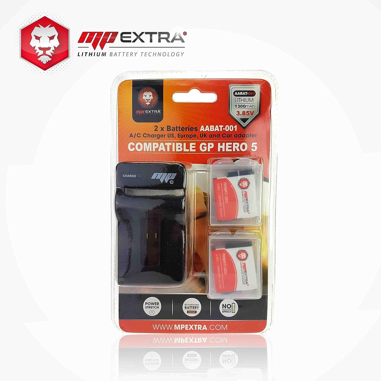 MP EXTRA® Lote de 2 baterías + Cargador para GoPro Hero 5 ...