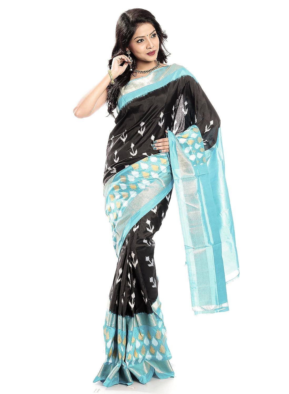 Mandakini — Indian Women's Handloom  Ikat Pure Silk Saree (blueeBlack) (MK352)