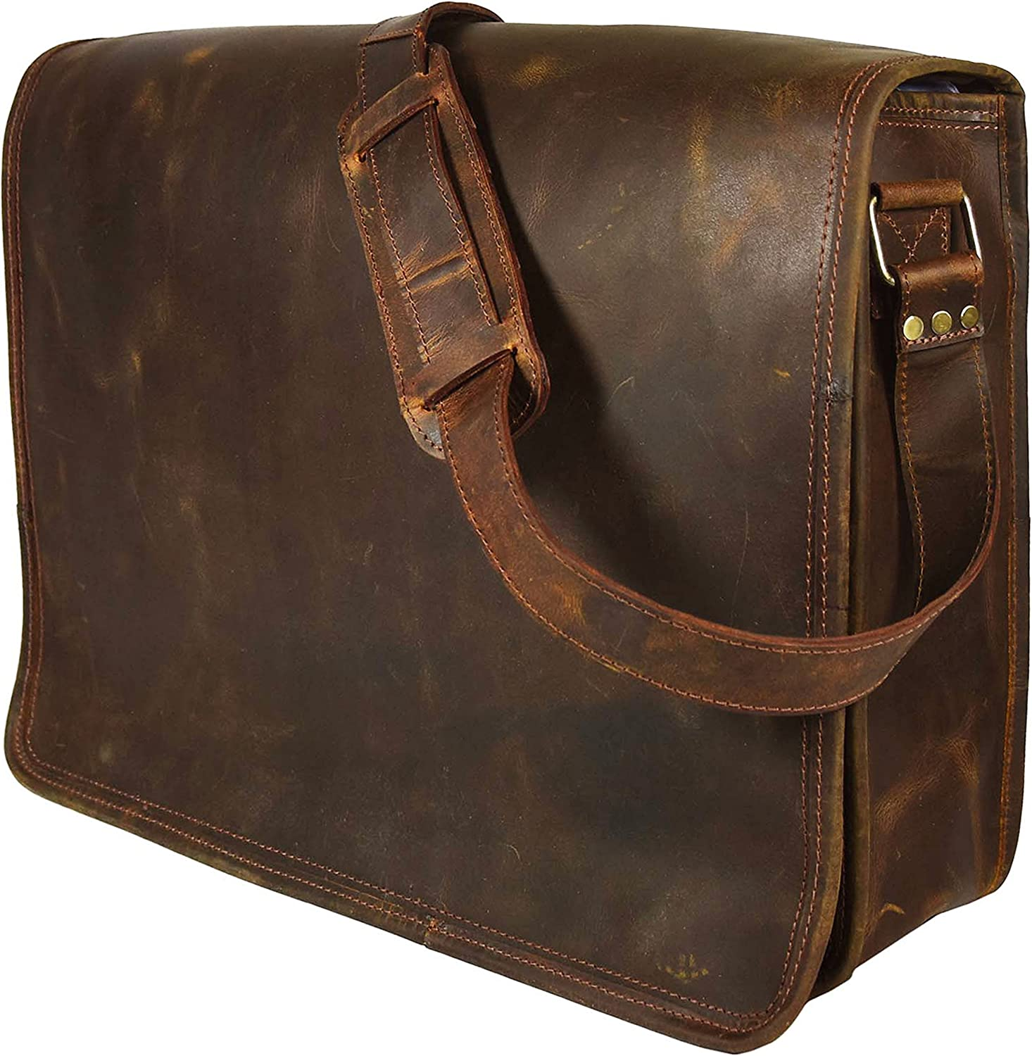16 Inch Leather Vintage Rustic Crossbody Messenger Courier Satchel Bag Gift Men Women ~ Business Work Briefcase Carry Laptop Computer Book Handmade Rugged & Distressed by KK's Leather