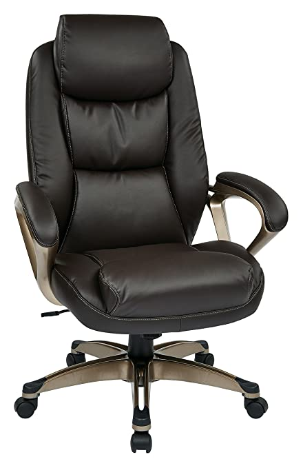 office leather chair. Office Star Executive Eco Leather Chair With Coil Spring Seat, Padded Arms, And Cocoa