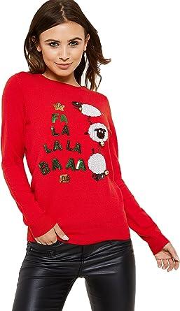 Fashion Union Fa La La Christmas Jumper From Brand Attic Red Amazon Co Uk Clothing
