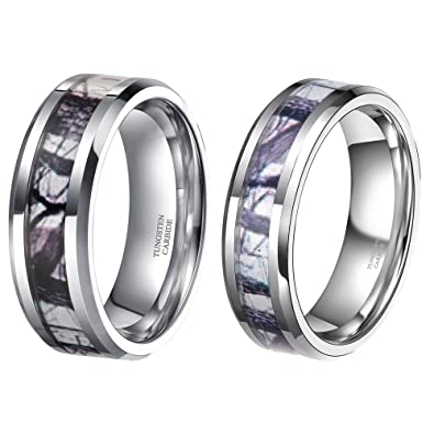 His Hers Tungsten Camo Inlay Wedding Bands Couple Ring Sets Free