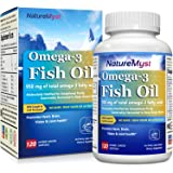 NatureMyst Omega 3 Fish Oil, 2500mg per serving, 950mg Omega3s, 120 Enteric Coated Softgels, Burpless