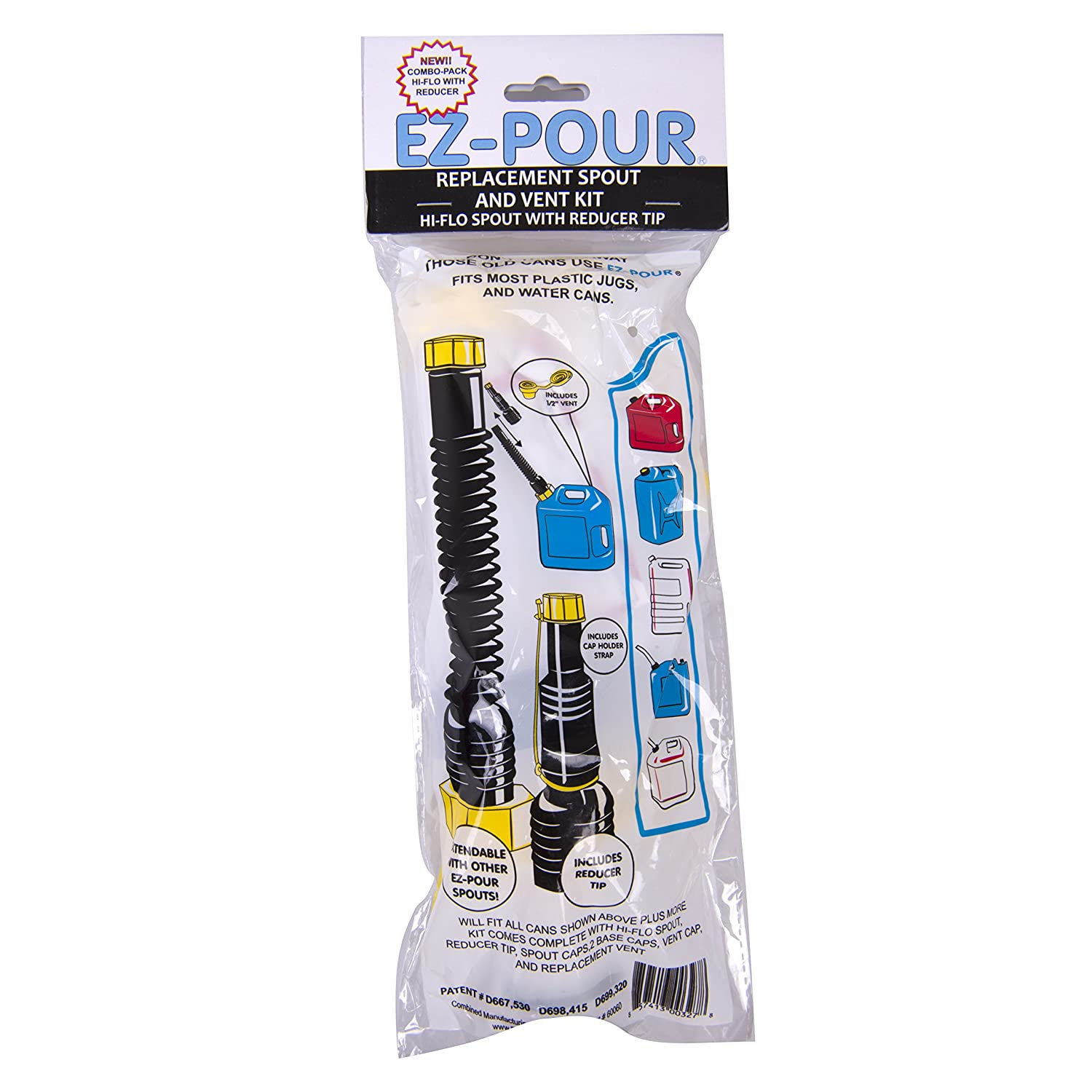 EZ-Pour Gas Can Replacement Spout Kit 2 Spouts Update Your Old Can Or Water Jug 7 Piece Kit