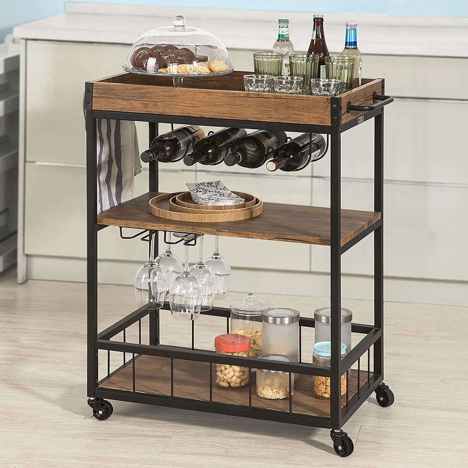 Haotian Bar Serving Cart Home Myra Rustic Mobile Kitchen Serving cart,Industrial Vintage Style Wood Metal Serving Trolley FKW56-N