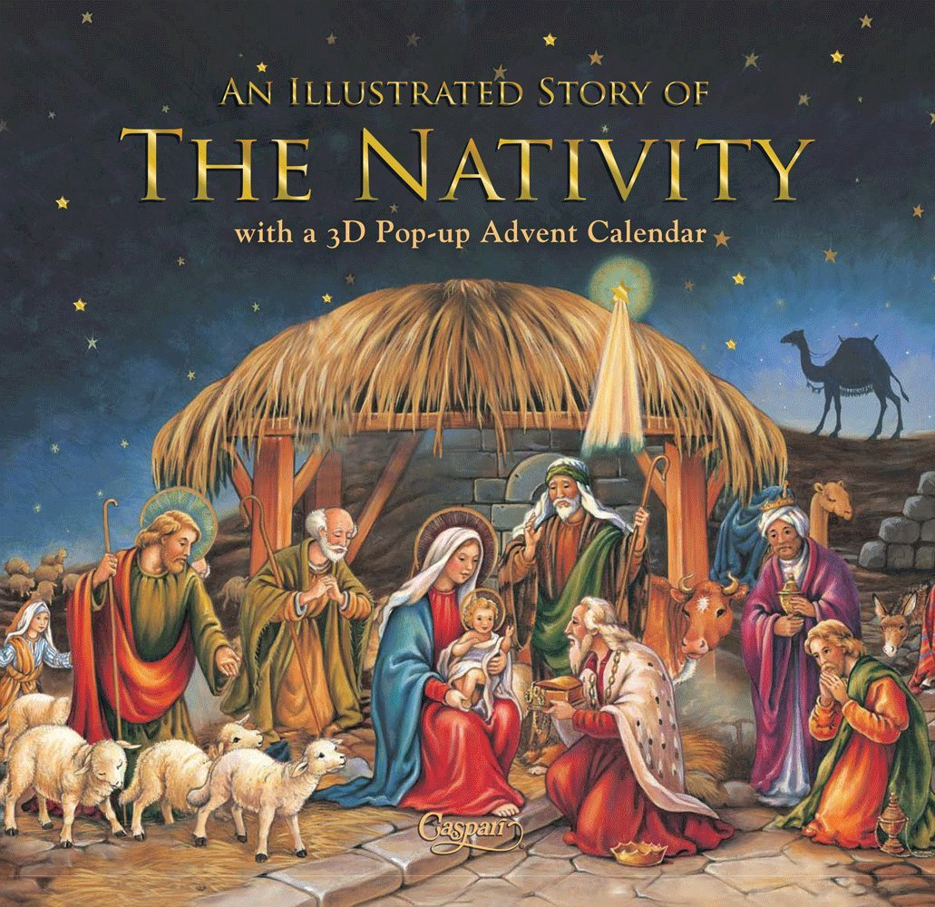 Entertaining with Caspari Christmas Pop-Up Advent Calendar and Story Book, Nativity, 1-Count