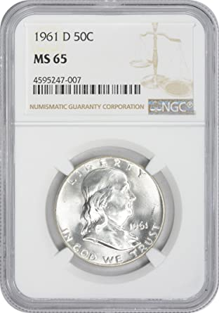 1963 D NGC MS65 FRANKLIN HALF DOLLAR BRIGHT WHITE COIN 90/% SILVER