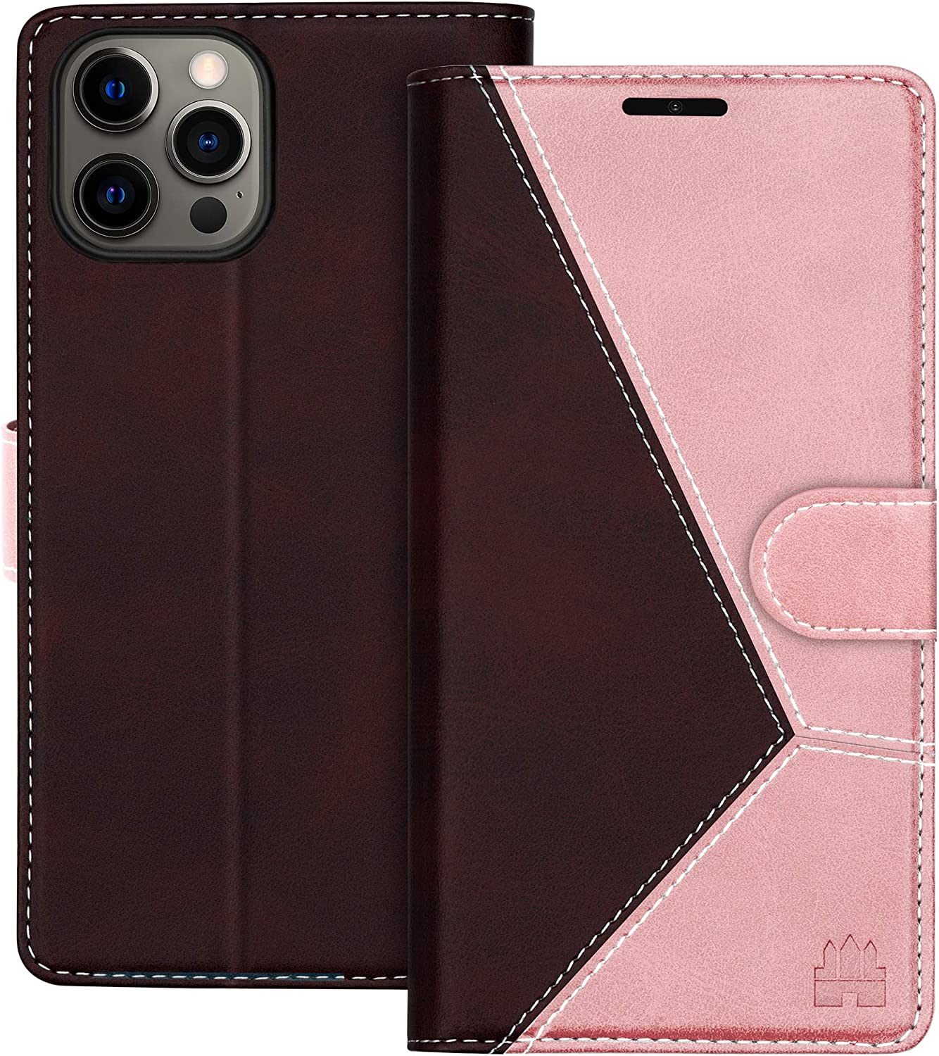 Caislean Compatible with iPhone 12/12 Pro Wallet Case (6.1 inch) PU Leather Flip Cover [RFID Blocking] Credit Card Holder [Soft TPU Shell] [Kickstand Function] Magnetic Full Protection Case, Rose Gold