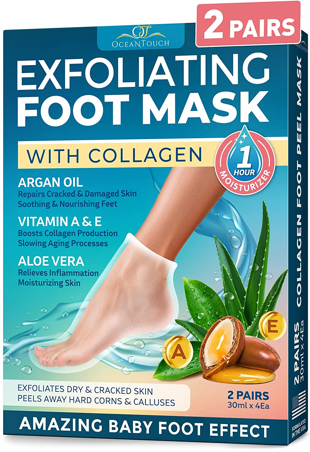 Foot Peel Mask - 2 Pack of Baby Soft Peeling Masks - for Dead Skin & Dry Feet - Exfoliating Masks with Argan Oil & Collagen - Cracked Heels & Rough Calluses Remover - Smooth Foot Repair