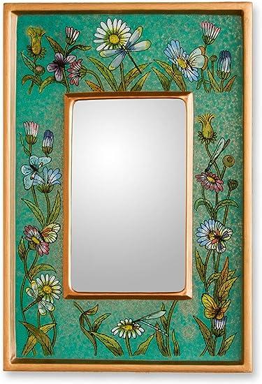 Arts Crafts Mirror Wall Vanity mirror- Hand Painted Glass Wood Rectangular Wall Mirror Hangings wall mirror Peruvian Decorative Mirror