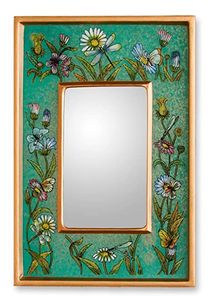 Novica handmade floral reverse painted glass wood framed rectangular wall mirror emerald fields