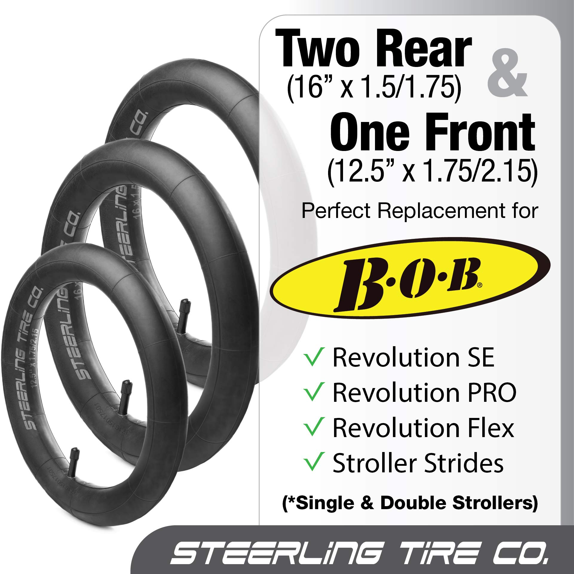[3-Pack] Two 16'' x 1.5/1.75 Rear AND One 12.5'' x 1.75/2.15 Front Heavy Duty Thorn Resistant Inner Tire Tube For All BOB Revolution Strollers & Stroller Strides - The Smart BOB Stroller Tire Tube Set by Steerling Tire Co. (Image #4)