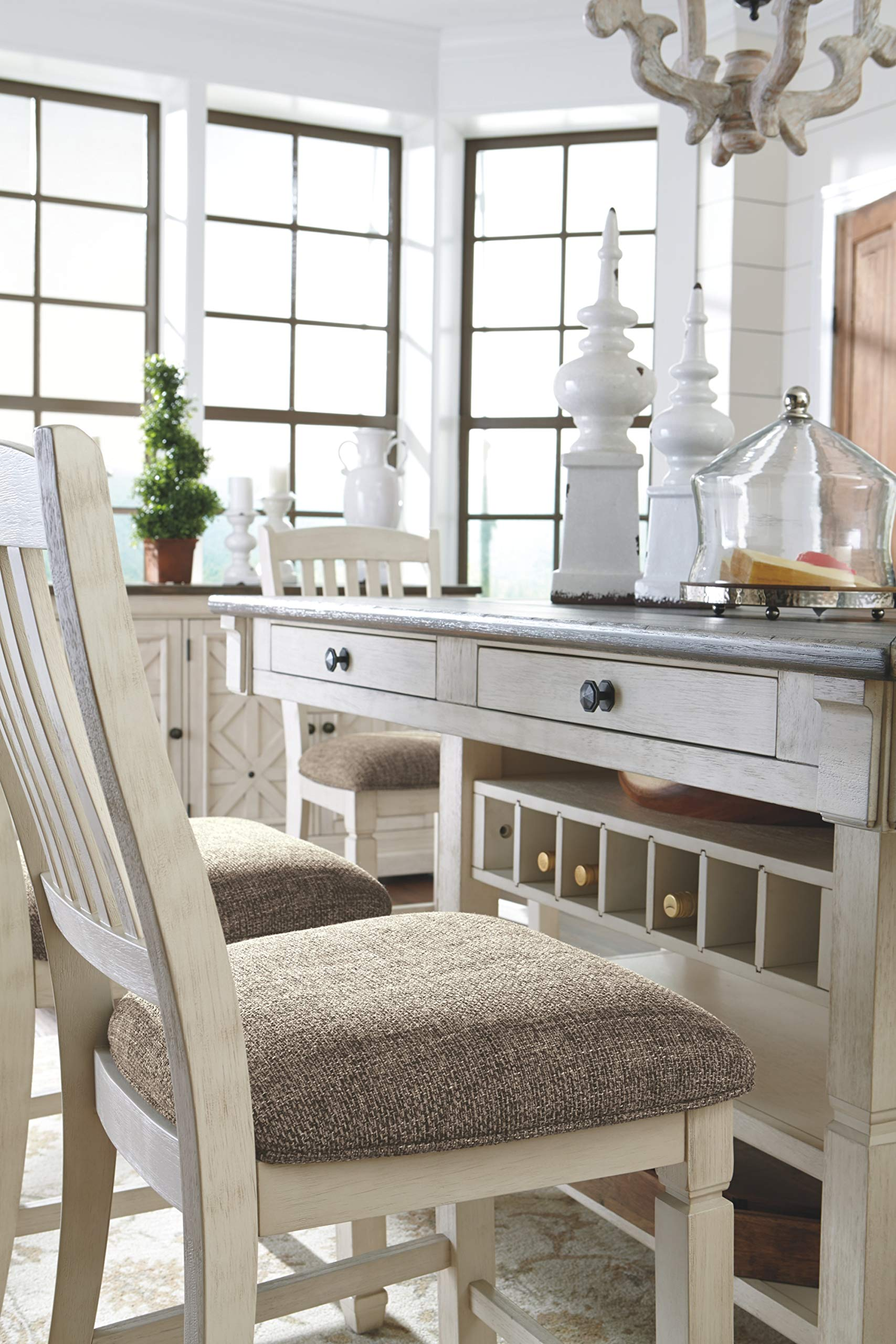Ashley Furniture Signature Design - Bolanburg Counter Height Dining Room Table - Antique White by Signature Design by Ashley (Image #7)