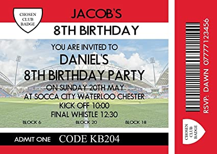 Personalised Boys Football Themed Birthday Party Invitations Cards