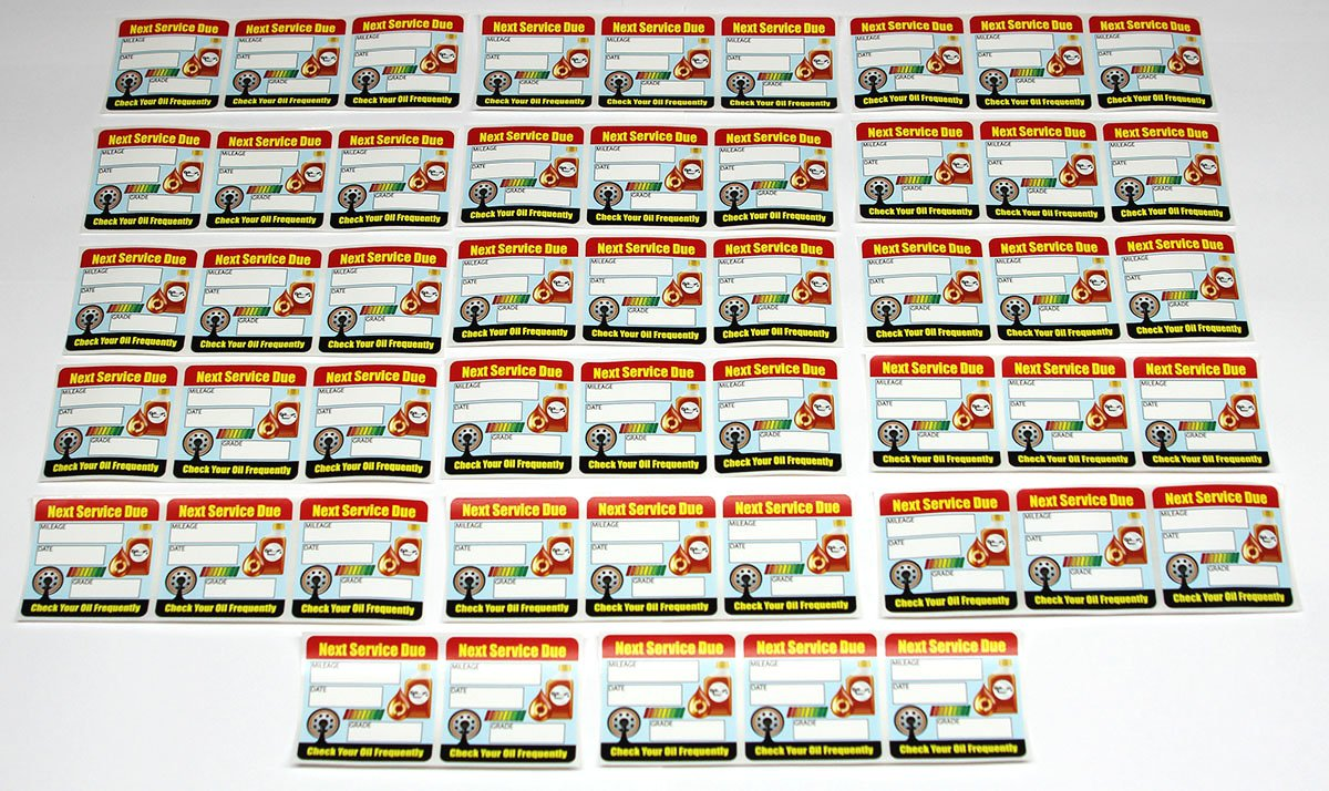 """Oil Change Stickers / Service Reminders - 100 Stickers - Full Color - Removable Adhesive - 2"""" x 2"""""""