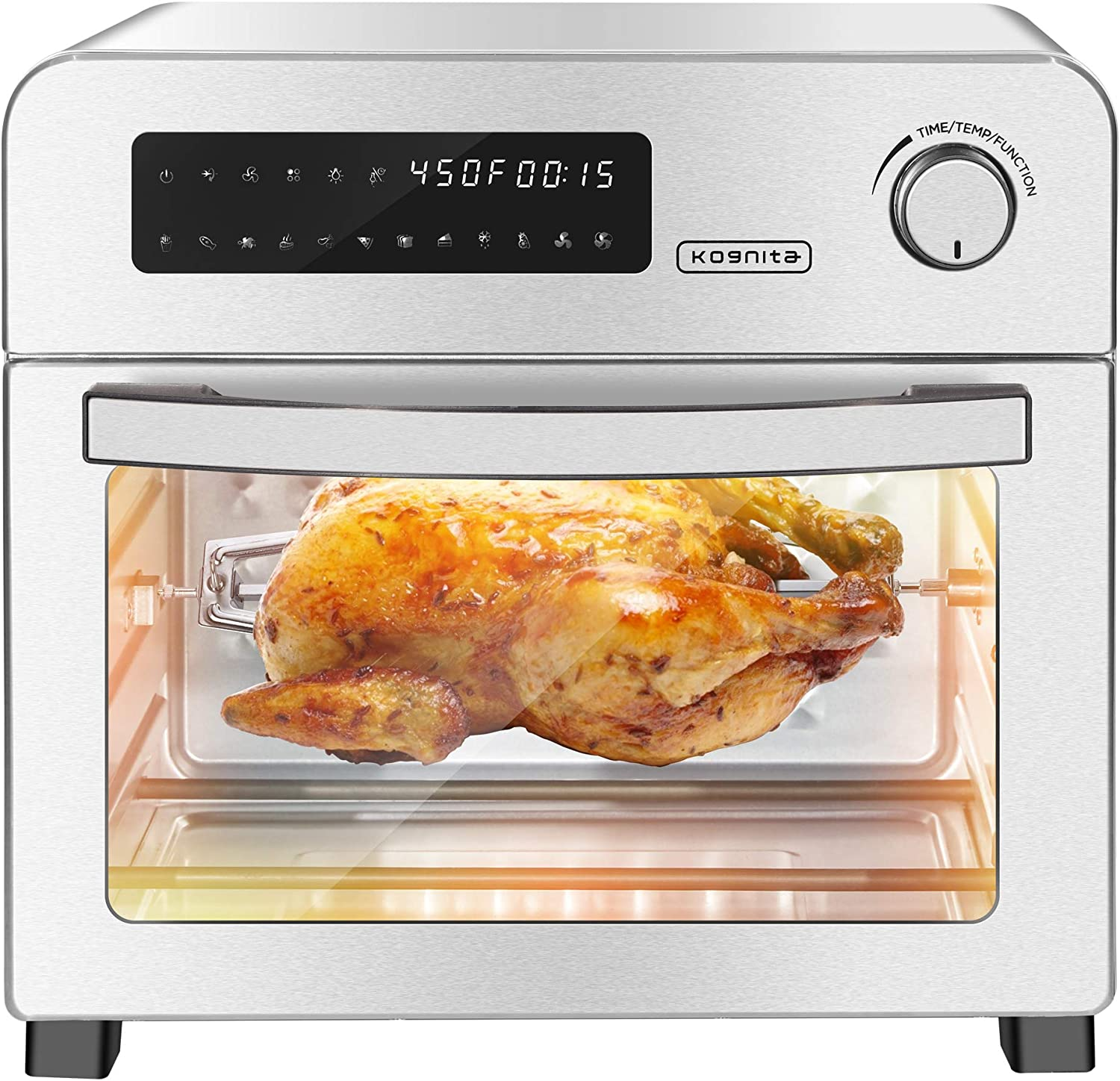 24.3 QT Air Fryer Toaster Oven - 10-in-1 Convection Oven Countertop,1700W Hot Air Fryer Oven with Rotisserie and Racks,Large Air Fryer for Family,Stainless Steel Body, LED Digital Touchscreen,ETL Certified