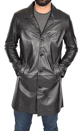 Style En Long Hommes Noir De Crombie Cuir Veste 34 Manteau 8U41U