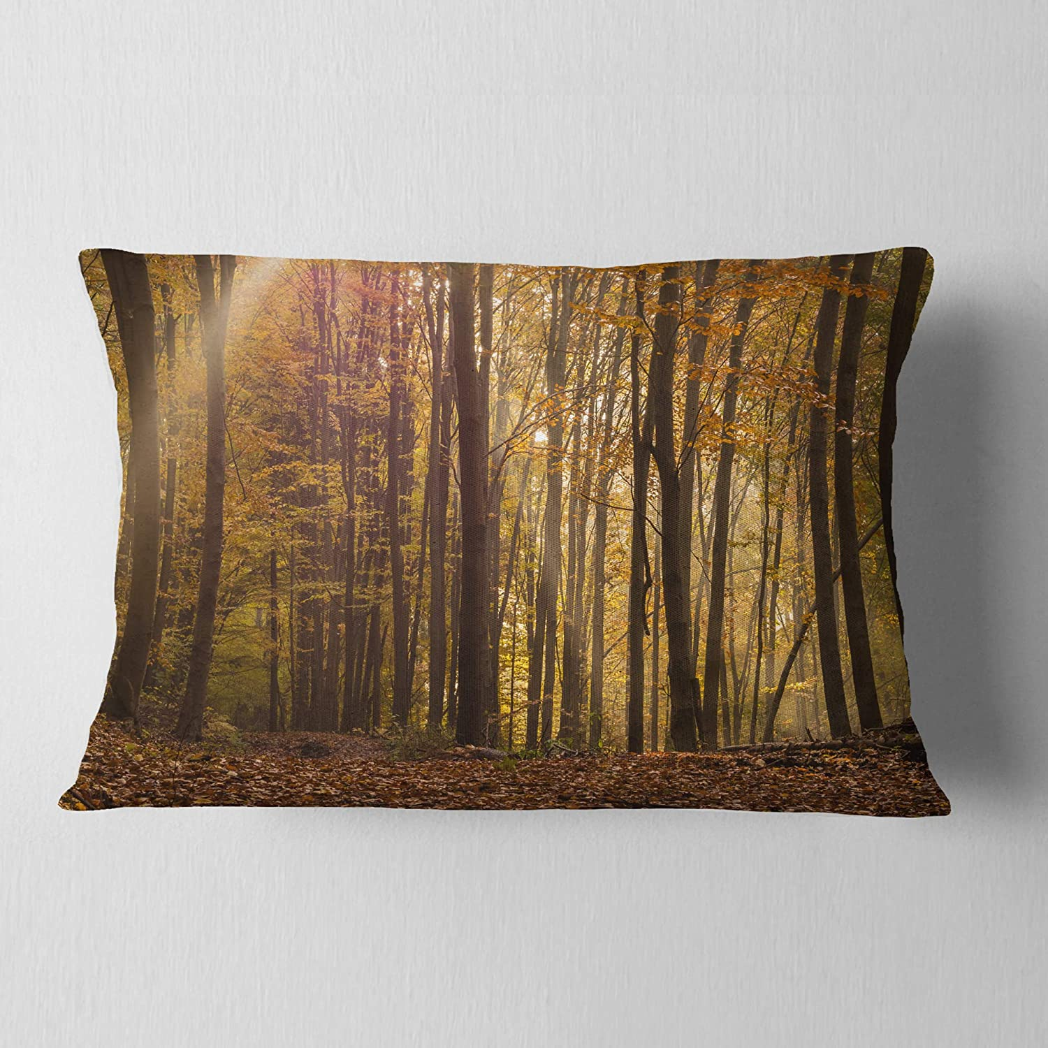 Designart CU13996-12-20 Dense Rays of Rising Sun' Forest Lumbar Cushion Cover for Living Room, Sofa Throw Pillow, 12 in. x 20 in. in, Insert Printed On Both Side