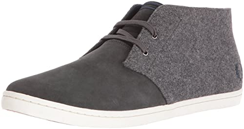 Fred Perry Mid Mens Grey Navy Grey Navy Byron Trainers Pure Wool