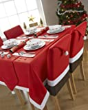 Santa's Table Red and White Rectangular Tablecloth Ideal For 4-6 Place Settings (52x70inch-132x178centimeter Approx)
