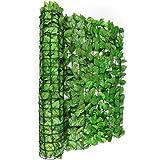 Blumfeldt Fency Dark Ivy valla de protección visual y anti viento (Malla sombreo 300x100 cm, cubierta exterior sombreadora, pantalla privacidad balcón terraza jardín, decoración imitación haya verde claro)