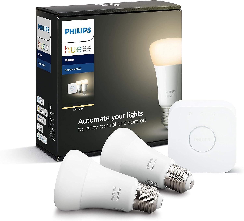Philips Hue Pack de 2 Bombillas Inteligentes LED E27 y Puente, con Bluetooth, Luz Blanca Cálida, Compatible con Alexa y Google Home