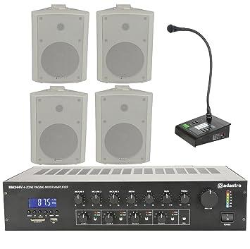 Business Paging Kit 4 Zona PA Adastra Amplificador y estación de llamada Anuncio de micrófono 6.5