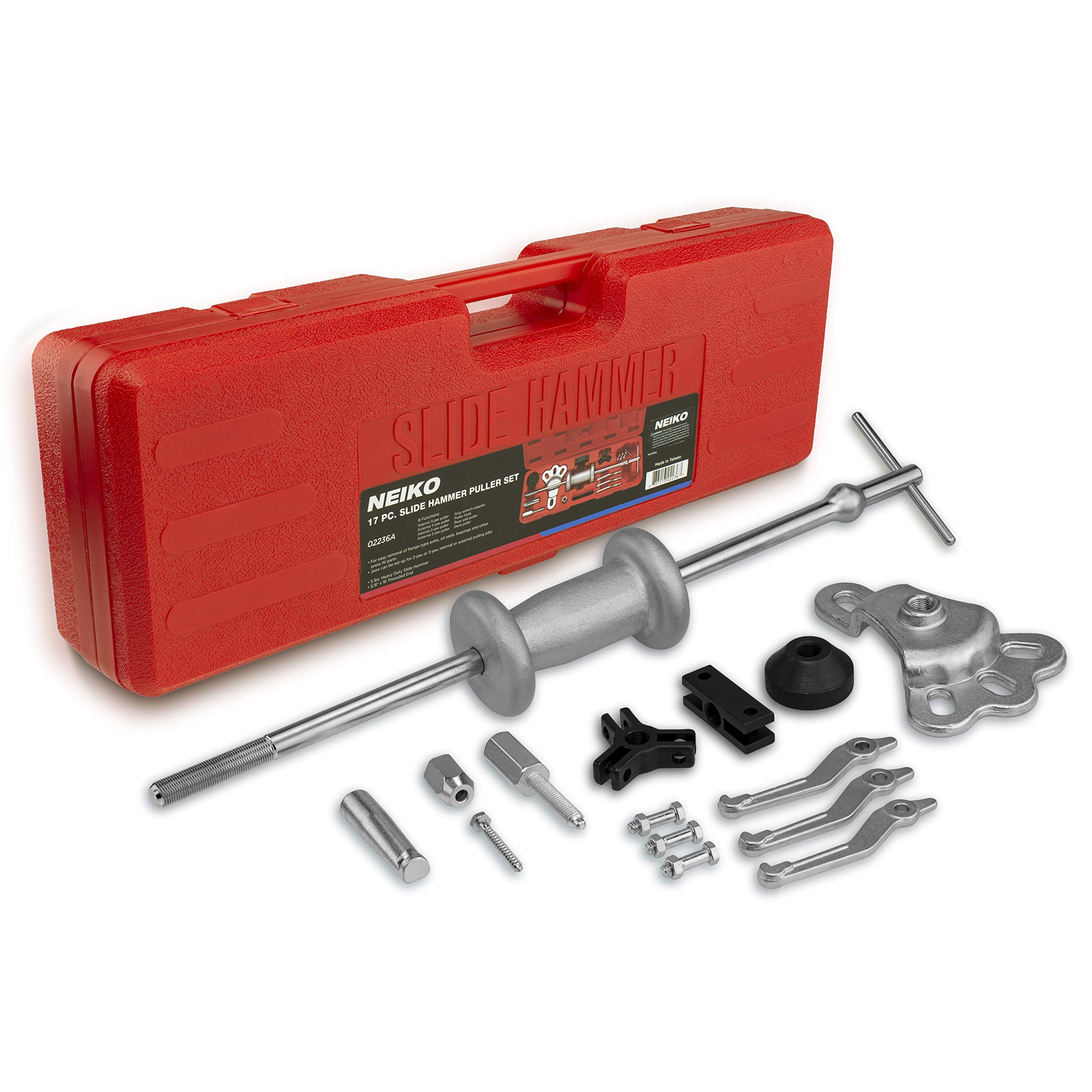Neiko 02236A Automotive Slide Hammer Puller Kit, 17 Piece | Steel T Handle Bar with Cr-V Steel Jaw Attachments by Neiko