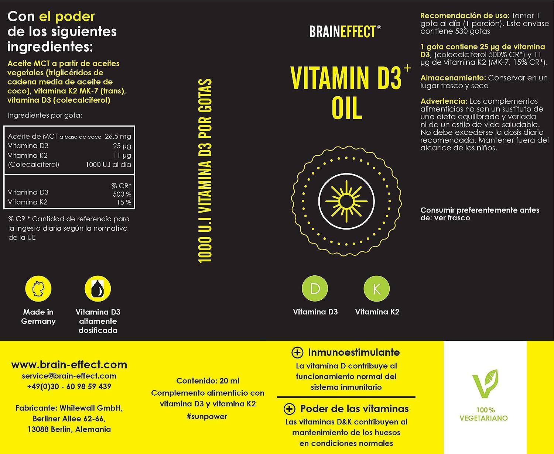 BRAINEFFECT Vitamina D3 y K2 Líquida - 1000 UI / 25 µg por gota - 20 ml - Disuelta en aceite de MCT - Vegetariano - German Quality: Amazon.es: Salud y cuidado personal