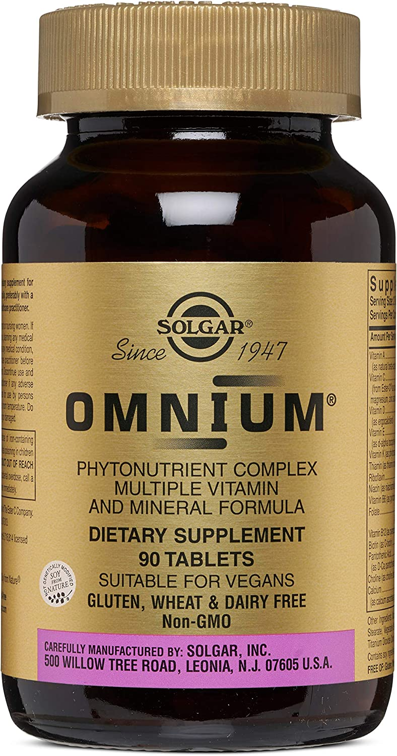 Solgar Omnium Phytonutrient Complex – 90 Vegan Tablets – Multivitamin and Mineral Supplement, Energy Booster, Antioxidant- Vegetarian, Non GMO, Gluten Free – 45 Servings
